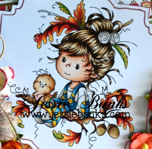 Wee Stamps Oak tree Girl close up