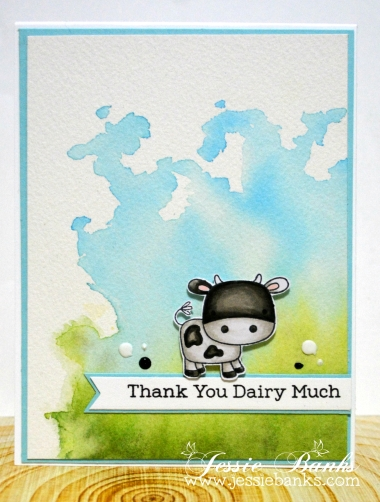 Copic colouring on the cow, watercolor background. Be sure to check my blog for a colouring video!