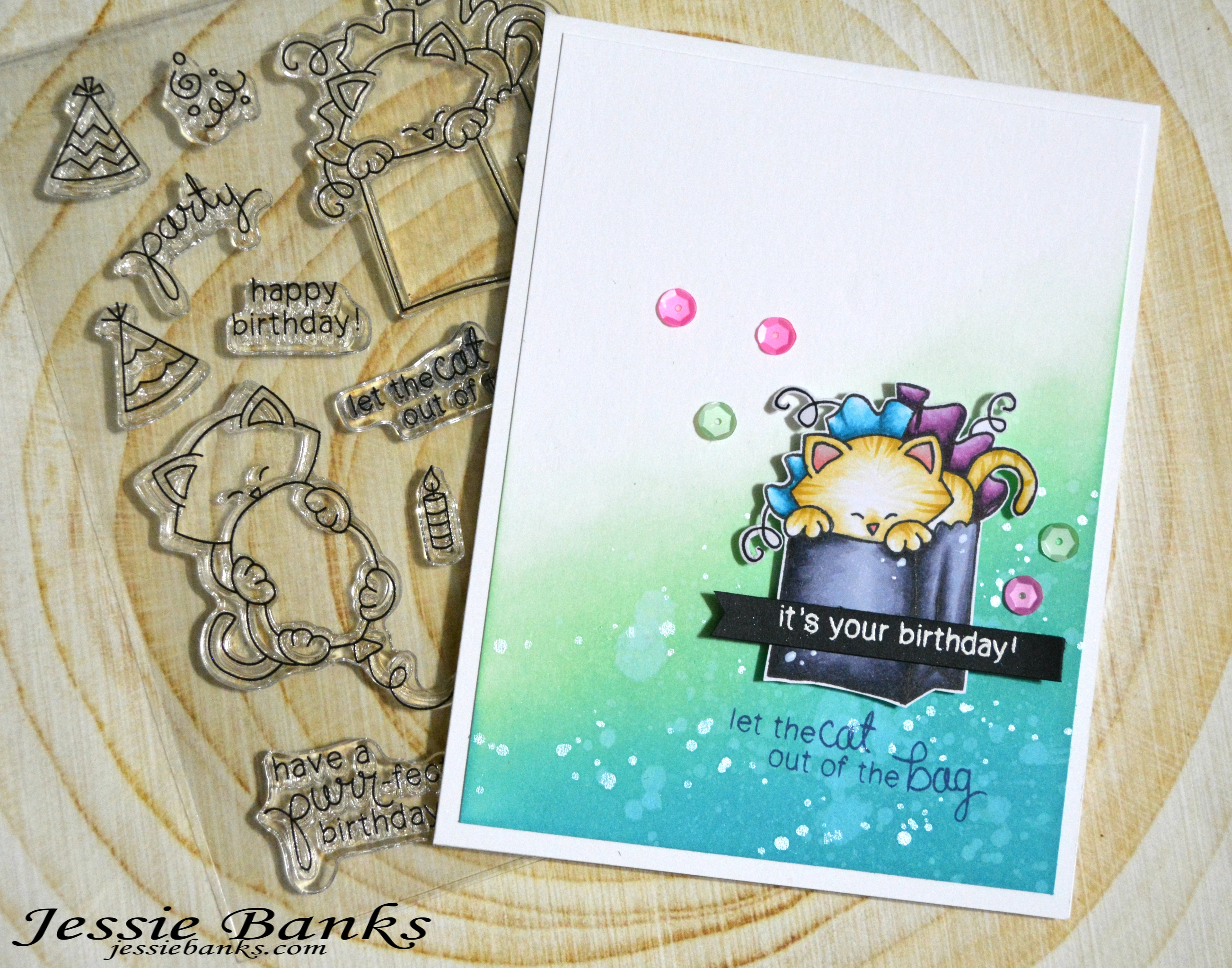 BirthdayCard by January Guest Designer Jessie Banks | Newton's Birthday Bash Stamp Set by Newton's Nook Designs #newtonsnook #handmade