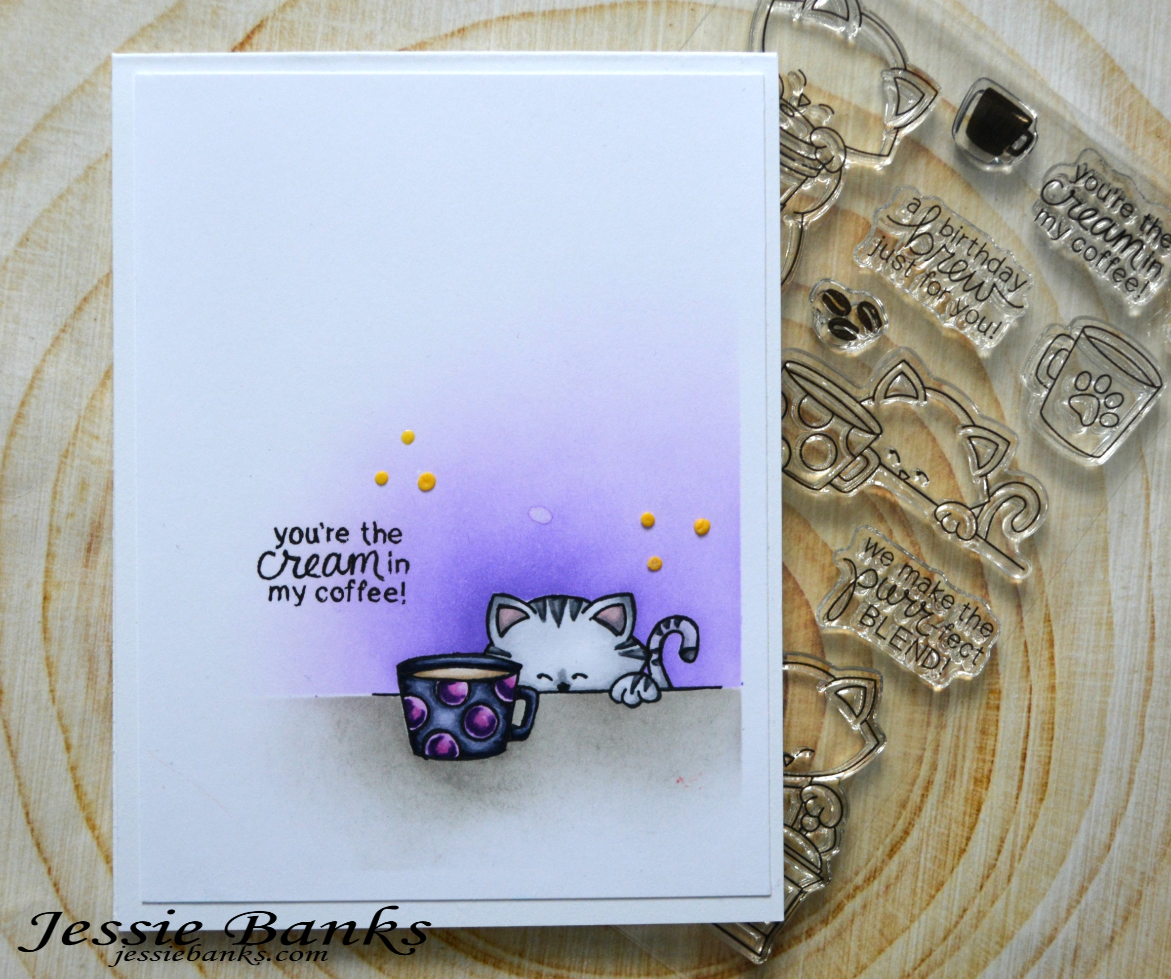 Cream in my Coffee Card by January Guest Designer Jessie Banks | Newton Loves Coffee Stamp Set by Newton's Nook Designs #newtonsnook