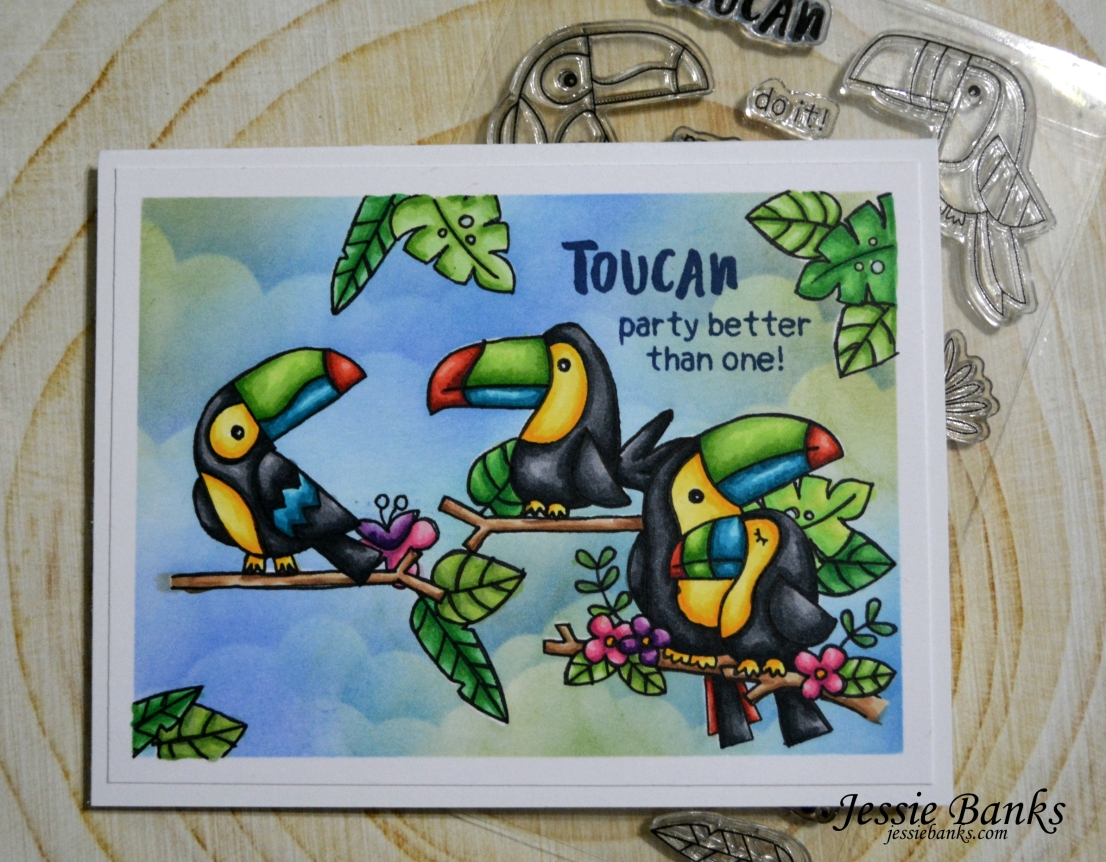 Toucan Party Card (and video!)  by January Guest Designer Jessie Banks | Toucan Party Stamp Set by Newton's Nook Designs #newtonsnook #handmade