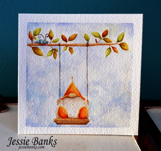 Stamping Bella - Gnome on a swing - Jessie Banks